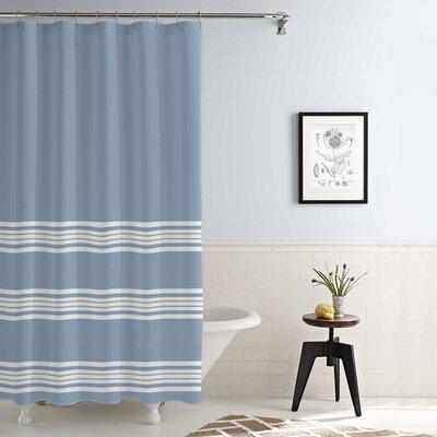 Kimora Waterproof Printed Shower Curtain Set Color: Blue