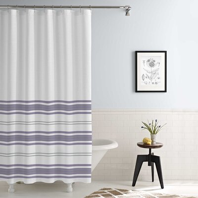 Kimora Waterproof Printed Shower Curtain Set Color: White/Lavender