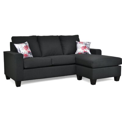 Morpheus Reversible Sectional with Ottoman Upholstery: Flanders Onyx / Graffiti Red
