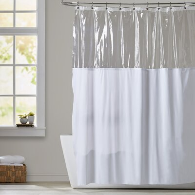 Cindy Window Shower Curtain Color: White and Clear, Size: 72 W x 84 H