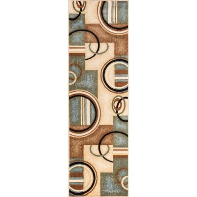 Elba Modern Blue Arcs & Shapes Area Rug Rug Size: Runner 27 x 91
