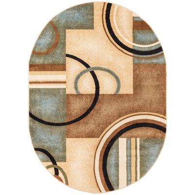 Elba Modern Blue Arcs & Shapes Area Rug Rug Size: Oval 67 x 96
