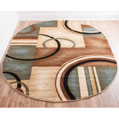 Elba Modern Blue Arcs & Shapes Area Rug Rug Size: Oval 53 x 610