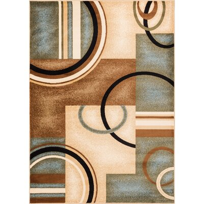 Elba Modern Blue Arcs & Shapes Area Rug Rug Size: Rectangle 53 x 73