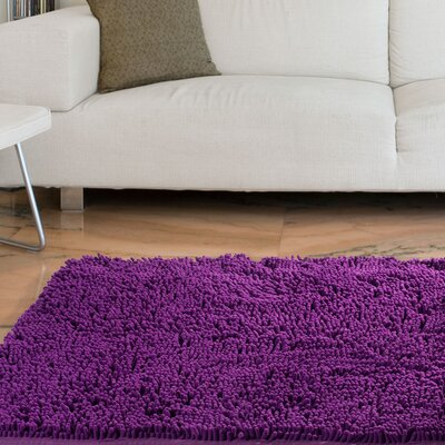 Jami High Pile Purple Solid Area Rug Rug Size: 19 x 3