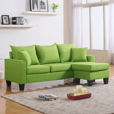 Janna Reversible Chaise Sectional Upholstery: Green
