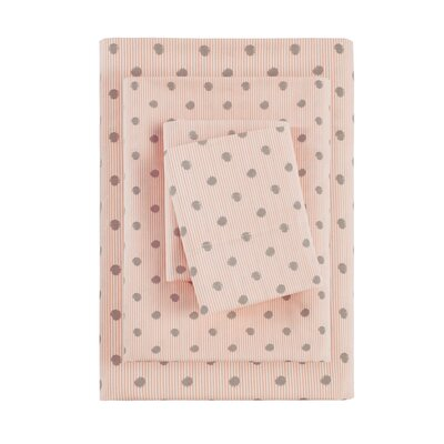 Aspen Printed Cotton Sheet Set Size: Full, Color: Pink