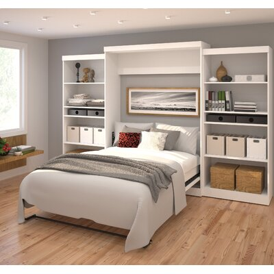 Aubrielle Queen Murphy Bed Upholstery: White