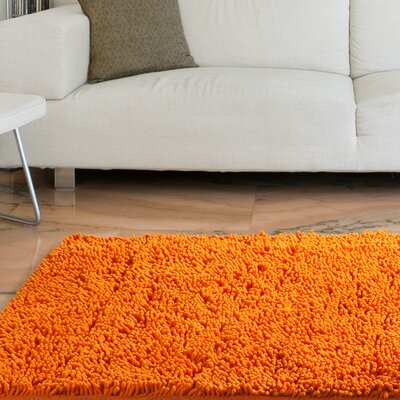 Scarlette High Pile Orange Solid Area Rug Rug Size: 19 x 3