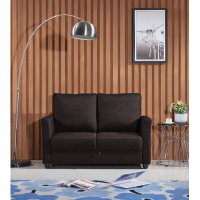 Aviana Contemporary Fabric Loveseat Upholstery: Coffee