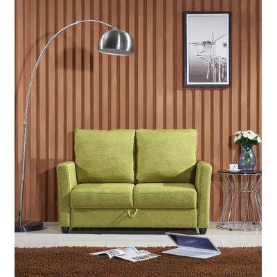 Aviana Contemporary Fabric Loveseat Upholstery: Green