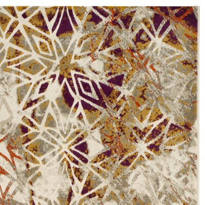 Charis Gray/Purple Area Rug Rug Size: 52 x 76