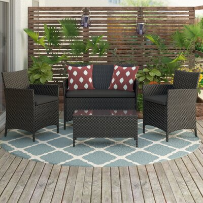Amber 4 Piece Seating Group with Cushions Finish: Black