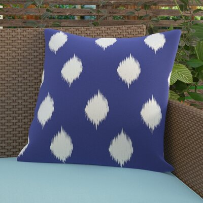 Jaclyn Geometric Print Outdoor Throw Pillow Size: 18 H x 18 W x 1 D, Color: Blue Suede