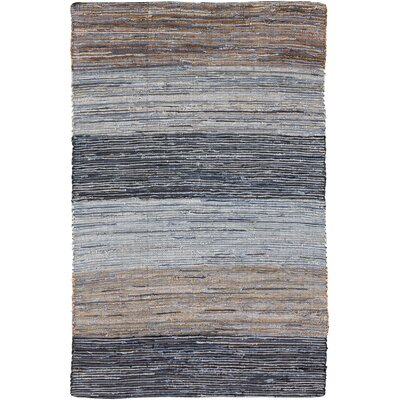 Audriana Hand-Woven Cotton Mocha/Slate Striped Area Rug Rug Size: Rectangle 36 x 56