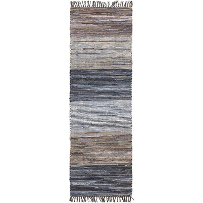 Audriana Hand-Woven Cotton Mocha/Slate Striped Area Rug Rug Size: Runner 26 x 8