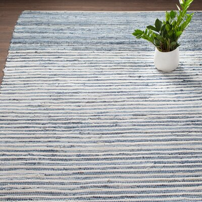Audriana Hand-Woven Cotton Sky Blue Area Rug Rug Size: Rectangle 8 x 11