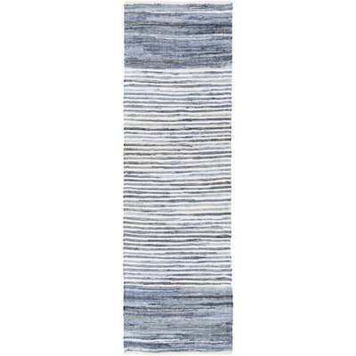 Audriana Hand-Woven Cotton Sky Blue Area Rug Rug Size: Runner 26 x 8