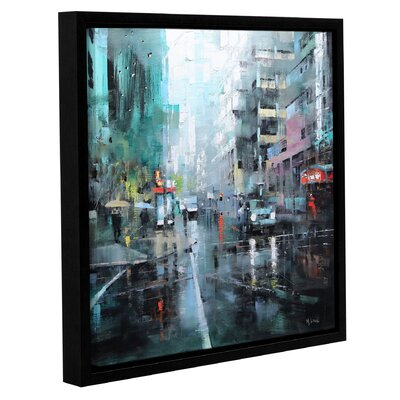 'Montreal Turquoise Rain' Framed Painting Print on Canvas Size: 10