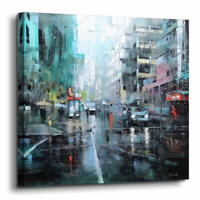 'Montreal Turquoise Rain' Painting Print on Canvas Size: 10