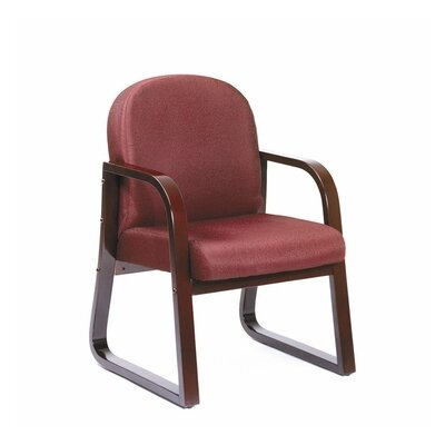 Evalyn Reception Arm Chair Fabric: Burgundy, Finish: Mahogany