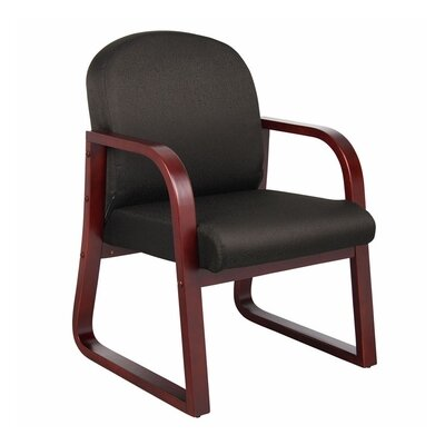 Reception Arm Chair Fabric: Black, Finish: Mahogany