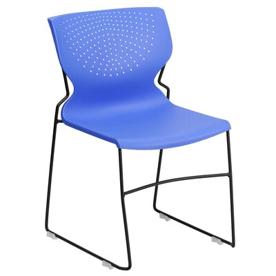 Flora Full Back Stackable Guest Chair Seat Finish: Blue