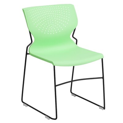 Flora Full Back Stackable Guest Chair Seat Finish: Green