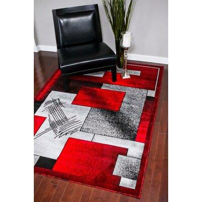 Emmaline Gray/Red Indoor/Outdoor Area Rug Rug Size: 8 x 10