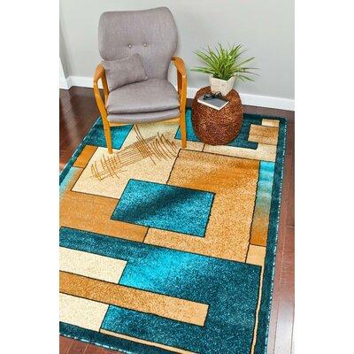 Alycia Turquoise/Beige Indoor/Outdoor Area Rug Rug Size: 5 x 7