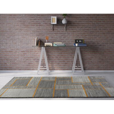 Emmaline Gray/Orange Indoor/Outdoor Area Rug Rug Size: 52 x 72