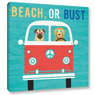 'Beach Bums Bus' Graphic Art Print on Canvas Size: 10
