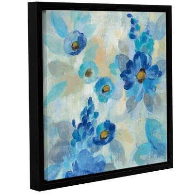 'Blue Flowers Whisper III' Framed Print on Canvas Size: 10