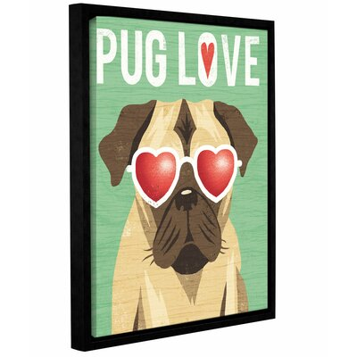 'Beach Bums Pug I Love' Framed Graphic Art Print on Canvas Size: 10