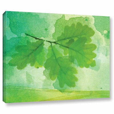 'Summer Leaf IV' Print on Wrapped Canvas Size: 14
