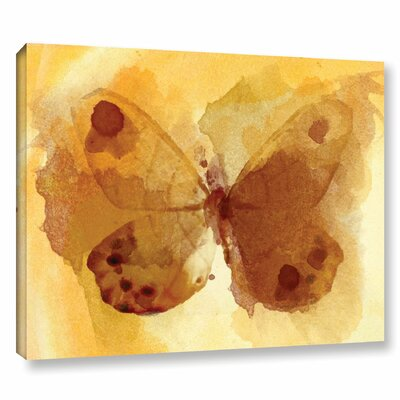 'Butterfly Yellow Dream' Print on Wrapped Canvas Size: 14