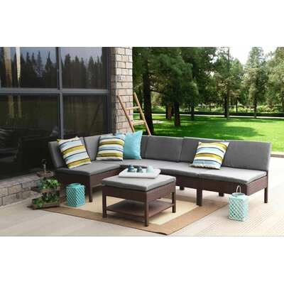 Maryann Complete Patio Garden 6 Piece Deep Seating Group Finish: Black