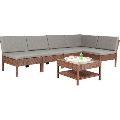 Maryann Complete Patio Garden 6 Piece Deep Seating Group Finish: Brown