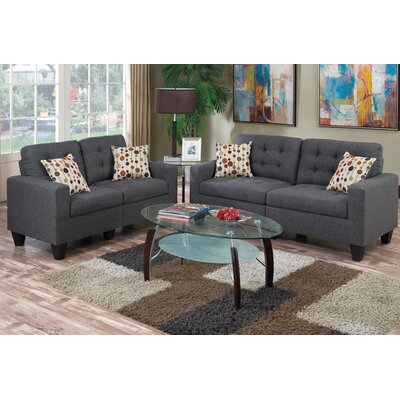 Amia 2 Piece Living Room Set Upholstery: Blue / Gray