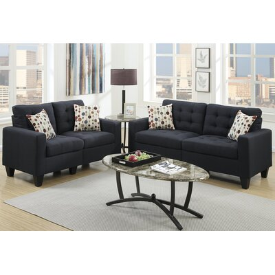 Amia 2 Piece Sofa and Loveseat Set Upholstery: Black