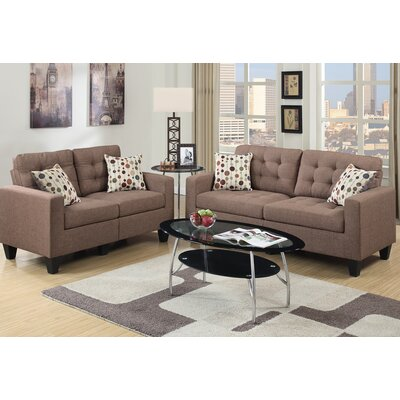 Amia 2 Piece Sofa and Loveseat Set Upholstery: Light Coffee