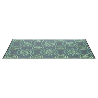 Calandre Reversible Hand-Woven Black/Aqua Indoor/Outdoor Area Rug Rug Size: 5 x 8