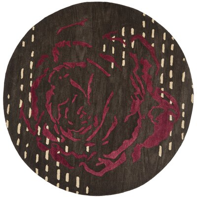 Demetra Charcoal Area Rug Rug Size: Round 7
