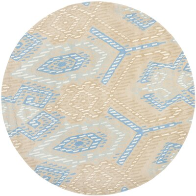 Secaucus Beige/Blue Rug Rug Size: Round 7