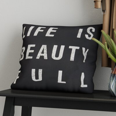 Stephanie Typography 100% Cotton Throw Pillow Cover Size: 18 H x 18 W x 0.25 D, Color: Neutral on Black