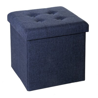 Zosia Tufted Foldable Storage Cube Ottoman Upholstery Color: Midnight Blue