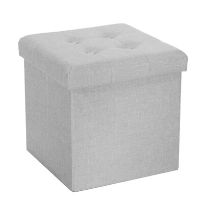 Zosia Tufted Foldable Storage Cube Ottoman Upholstery Color: Light Gray