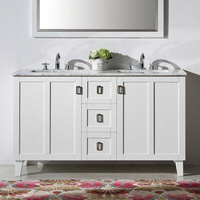 Lehigh 60 Double Sink Bathroom Vanity Set Base Finish: White