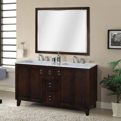 Lehigh 60 Double Sink Bathroom Vanity Set Base Finish: Brown