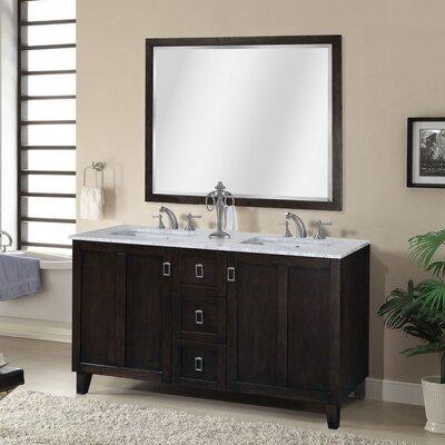 Lehigh 60 Double Sink Bathroom Vanity Set Base Finish: Dark Brown